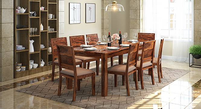 Arabia XXL - Oribi 8 Seater Dining Table Set (Teak Finish, Wheat Brown) by Urban Ladder - Design 1 Full View - 136250