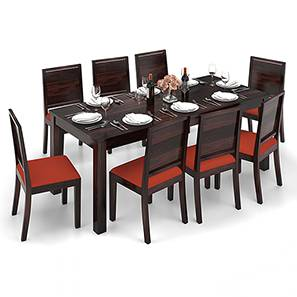Arabia XXL - Oribi 8 Seater Dining Table Set (Mahogany Finish, Burnt Orange) by Urban Ladder