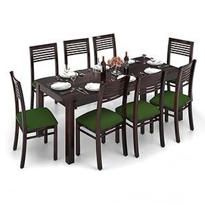 Arabia XXL - Zella 8 Seater Dining Table Set (Mahogany Finish, Avocado Green) by Urban Ladder