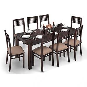 Arabia XXL - Zella 8 Seater Dining Table Set (Mahogany Finish, Wheat Brown) by Urban Ladder