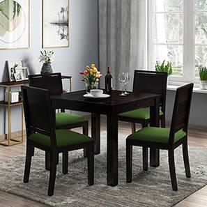 Arabia - Oribi 4 Seater Storage Dining Table Set (Mahogany Finish, Avocado Green) by Urban Ladder