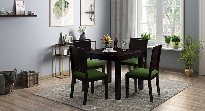 Arabia - Oribi 4 Seater Storage Dining Table Set (Mahogany Finish, Avocado Green) by Urban Ladder