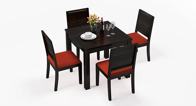 Arabia - Oribi 4 Seater Storage Dining Table Set (Mahogany Finish, Burnt Orange) by Urban Ladder