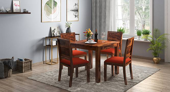 Arabia - Oribi 4 Seater Storage Dining Table Set (Teak Finish, Burnt Orange) by Urban Ladder