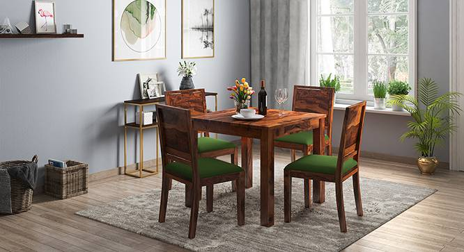 Arabia - Oribi 4 Seater Storage Dining Table Set (Teak Finish, Avocado Green) by Urban Ladder