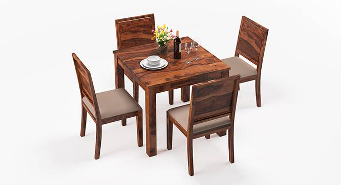 Arabia - Oribi 4 Seater Storage Dining Table Set (Teak Finish, Wheat Brown) by Urban Ladder