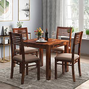 Arabia - Zella 4 Seater Storage Dining Table Set (Teak Finish, Wheat Brown) by Urban Ladder