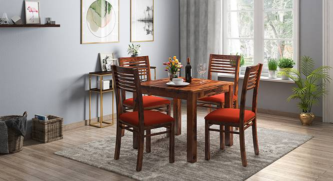 Arabia - Zella 4 Seater Storage Dining Table Set (Teak Finish, Burnt Orange) by Urban Ladder