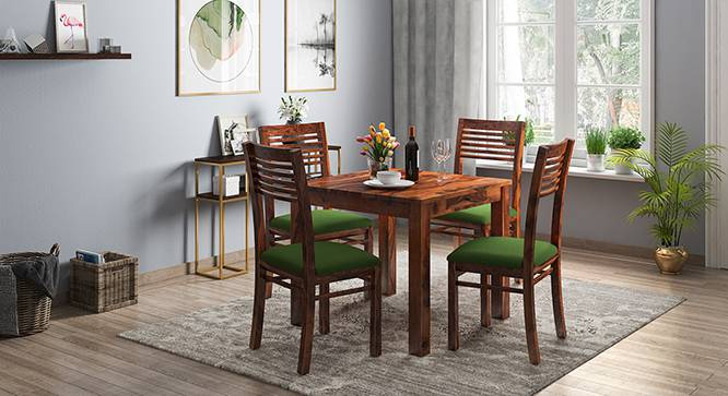 Arabia - Zella 4 Seater Storage Dining Table Set (Teak Finish, Avocado Green) by Urban Ladder