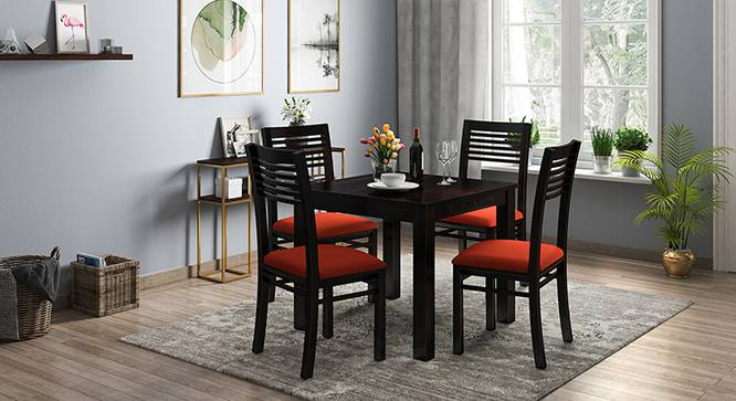 Arabia - Zella 4 Seater Storage Dining Table Set (Mahogany Finish, Burnt Orange) by Urban Ladder
