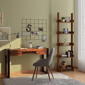 Austen Study Table - Bookshelf Bundle (Teak Finish) by Urban Ladder
