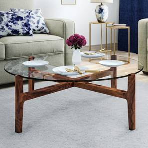Cayman Glasstop Coffee Table (Teak Finish, Without Shelf) by Urban Ladder - - 136745