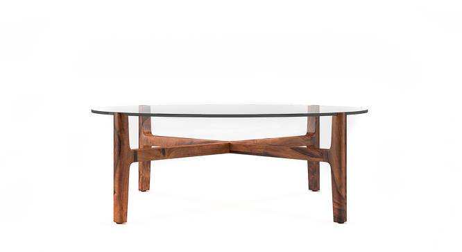 Cayman Glasstop Coffee Table (Teak Finish, Without Shelf) by Urban Ladder - Front View Design 1 - 136747