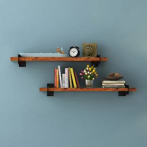 Ryter Shelves - Set Of 2 (2.5' Shelf Width, Teak) by Urban Ladder