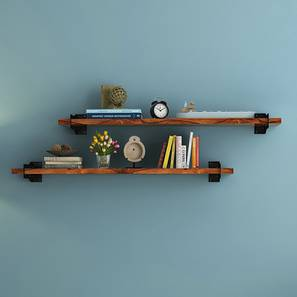 Ryter Shelves - Set Of 2 (3.5' Shelf Width, Teak) by Urban Ladder