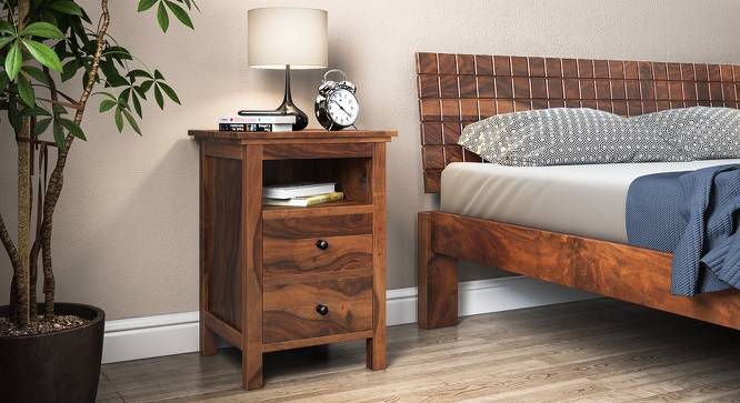 Snooze Tall Bedside Table (Teak Finish) by Urban Ladder - Design 1 Full View - 136967