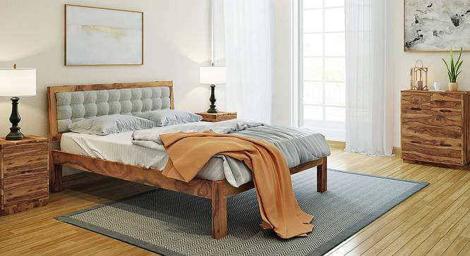 Florence Bed (Solid Wood) (Teak Finish, Queen Bed Size, Monochrome Paisley) by Urban Ladder - Design 1 Full View - 137449