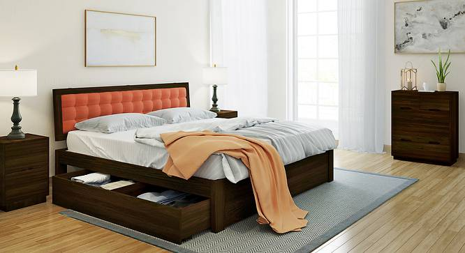 Florence Storage Bed (Solid Wood) (Mahogany Finish, King Bed Size, Lava, Drawer Storage Type) by Urban Ladder - Design 1 Full View - 137474