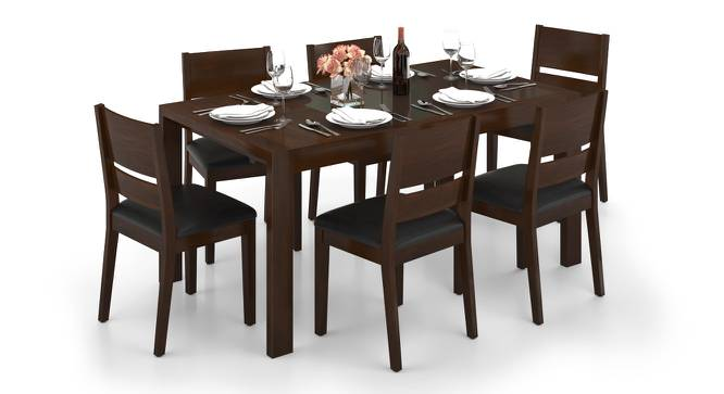 Vanalen 4 to 6 Extendable - Cabalo (Leatherette) 6 Seater Glass Top Dining Table Set (Black, Dark Walnut Finish) by Urban Ladder