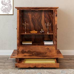 Devoto Prayer Cabinet (Teak Finish, With Drawer Configuration) by Urban Ladder