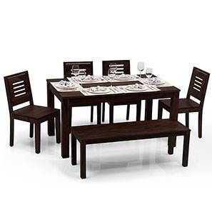 Arabia - Capra 6 Seater Dining Table Set (With Bench) (Mahogany Finish) by Urban Ladder - - 13831