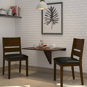 Ivy - Cabalo (Leatherette)  2 Seater Wall Mounted Dining Table Set (Black, Dark Walnut Finish) by Urban Ladder