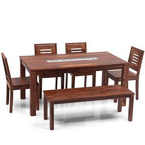 Brighton Large - Capra 6 Seater Dining Table Set (With Bench) (Teak Finish) by Urban Ladder