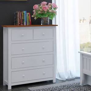 Evelyn Chest Of Five Drawers (White Finish) by Urban Ladder - Front View Design 1 - 140003
