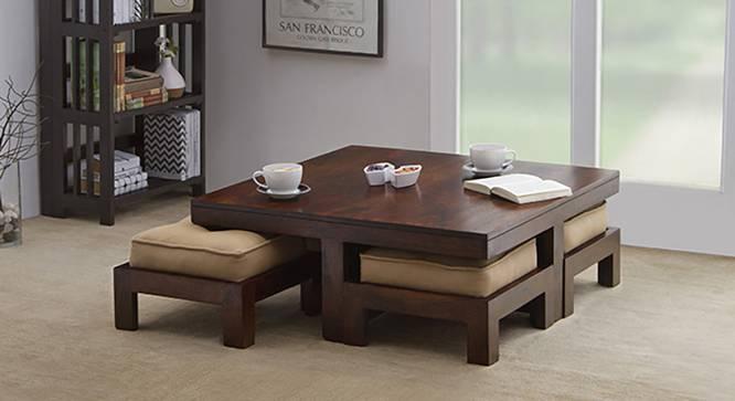 Kivaha 4-Seater Coffee Table Set (Walnut Finish, Beige) by Urban Ladder - Design 1 Full View - 140019