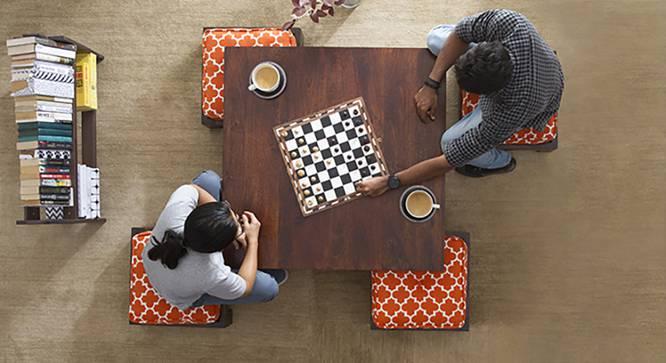 Kivaha 4-Seater Coffee Table Set (Walnut Finish, Morocco Lattice Rust) by Urban Ladder - Design 1 Full View - 140046