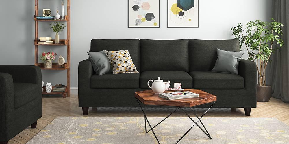 Walton Compact Sofa (Charcoal Grey) (1-seater Custom Set - Sofas, None Standard Set - Sofas, Charcoal Grey, Fabric Sofa Material, Regular Sofa Size, Regular Sofa Type) by Urban Ladder