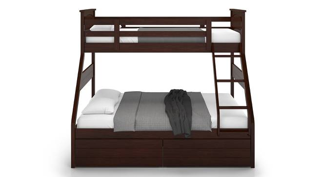 Barnley Single Over Queen Storage Bunk Bed (Queen Bed Size, Dark Walnut Finish) by Urban Ladder - Front View Design 1 - 142540