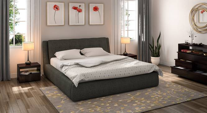Stanhope Hydraulic Upholstered Storage Bed (King Bed Size, Charcoal Grey) by Urban Ladder