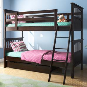 Barnley Bunk Bed (Dark Walnut Finish, With Storage) by Urban Ladder - Design 1 - 142841
