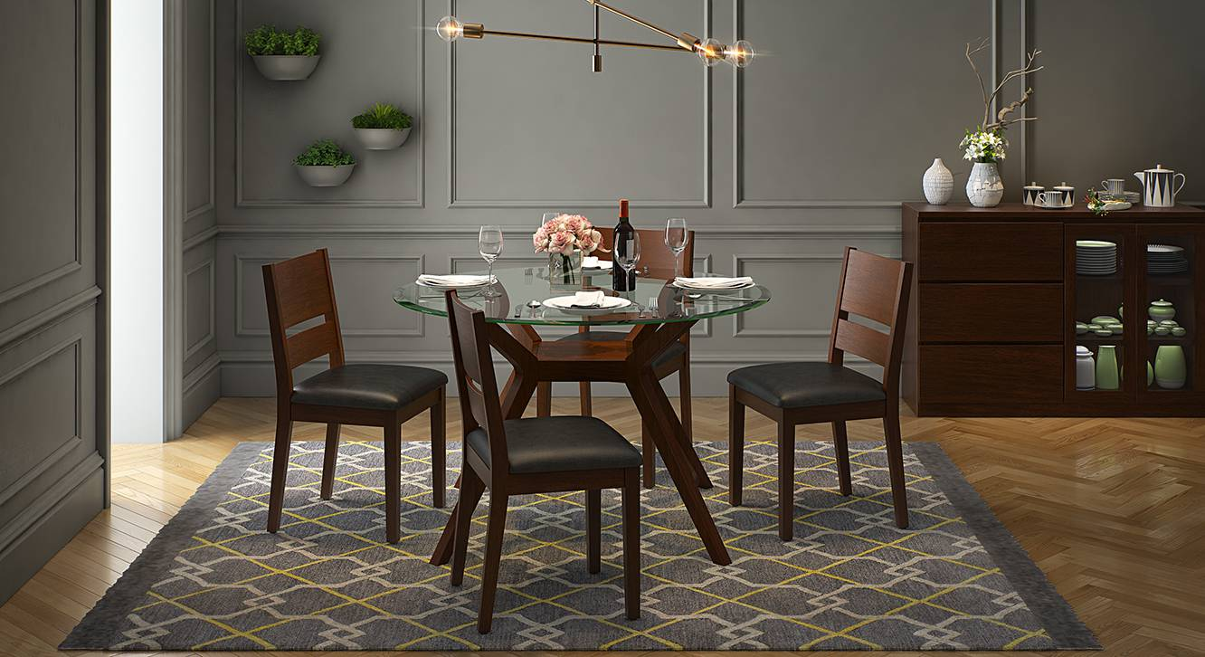 Wesley Cabalo Leatherette 4 Seater Round Glass Top Dining