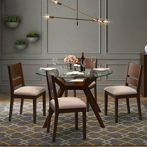 Wesley - Cabalo (Fabric) 4 Seater Round Glass Top Dining Table Set (Beige, Dark Walnut Finish) by Urban Ladder