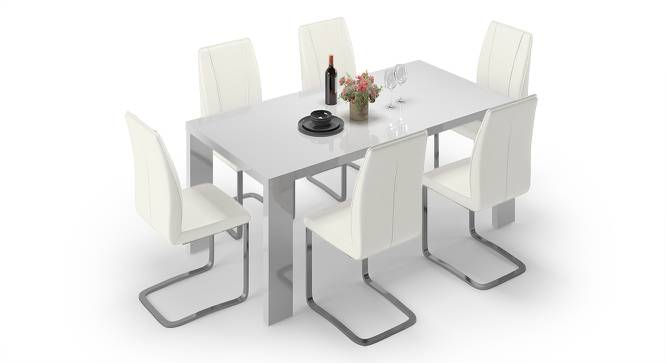 Kariba - Seneca 6 Seater High Gloss Dining Table Set (White Finish) by Urban Ladder - Front View Design 1 - 144384