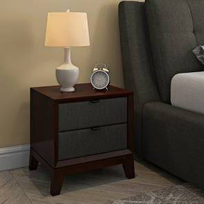 Martino Upholstered Bedside Table (Dark Walnut Finish, Charcoal Grey) by Urban Ladder - Design 1 Full View - 144398