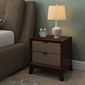 Martino Upholstered Bedside Table Brown Dark Walnut Finish
