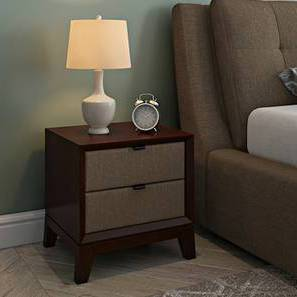 Martino Upholstered Bedside Table (Brown, Dark Walnut Finish) by Urban Ladder - Design 1 Full View - 144407