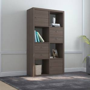 Boeberg Bookshelf (Dark Walnut Finish, 4 x 2 Configuration, 2 Cabinet, 2 Drawers Inserts) by Urban Ladder