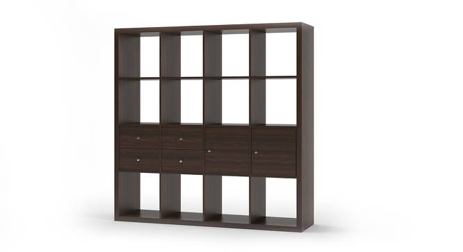 Boeberg Bookshelf (Dark Walnut Finish, 4 x 4 Configuration, 2 Cabinet, 2 Drawers Inserts) by Urban Ladder