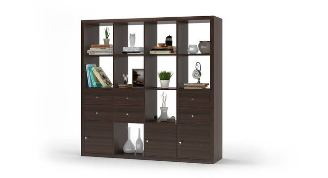 Boeberg Bookshelf (Dark Walnut Finish, 4 x 4 Configuration, 3 Cabinet, 3 Drawers Inserts) by Urban Ladder