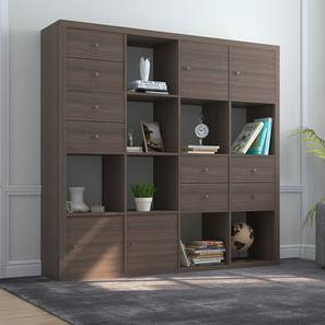 Boeberg Bookshelf (Dark Walnut Finish, 4 x 4 Configuration, 4 Cabinet, 4 Drawers Inserts) by Urban Ladder