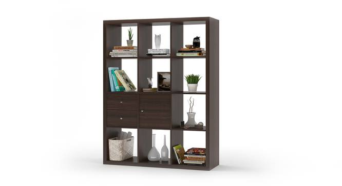 Boeberg Bookshelf (Dark Walnut Finish, 4 x 3 Configuration, 1 Cabinet, 1 Drawers Inserts) by Urban Ladder