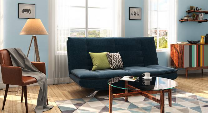 Edo Sofa Cum Bed (Blue) by Urban Ladder - Design 1 Full View - 146239