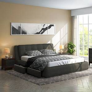 Stanhope Hydraulic Upholstered Storage Essential Bedroom Set (Queen Bed Size, Charcoal Grey) by Urban Ladder
