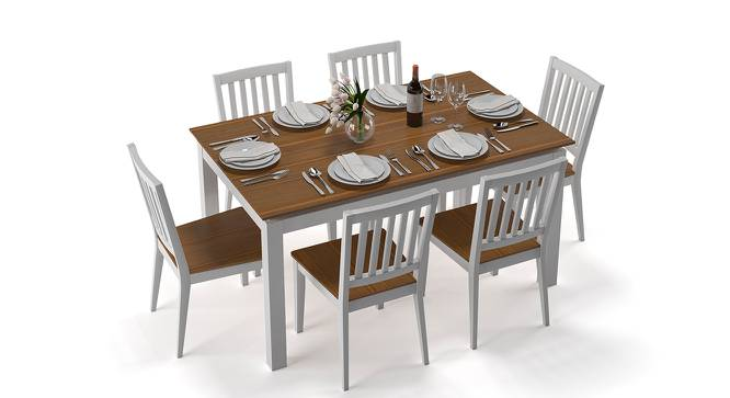Diner 6 Seater Dining Table Set (Golden Oak Finish) by Urban Ladder - Front View Design 1 - 147008