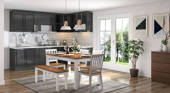 Diner 6 Seater Dining Table Set (With Bench) (Golden Oak Finish) by Urban Ladder - Design 1 Full View - 147060