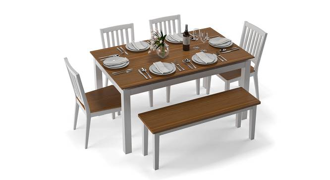 Diner 6 Seater Dining Table Set (With Bench) (Golden Oak Finish) by Urban Ladder - Front View Design 1 - 147062